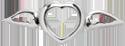 mini serce ze skrzydłami srebrne