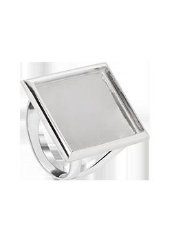 Pierścionek kwadrat płaski srebrny
