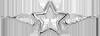 gwiazdka ze skrzydłami 2 cm srebrna