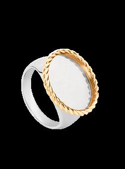 Pierścionek kryształ owal złota rama Twist