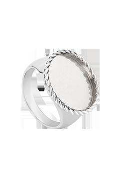 Pierścionek kryształ owal rama TWIST srebrny