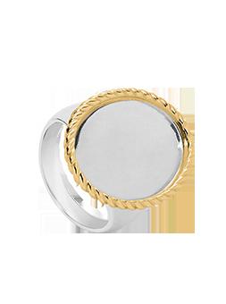 Pierścionek kryształ koło złota ramka TWIST