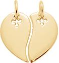 Serce dla dwojga pozłacane 2 cm