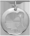 medalion dziewczynka 2 cm srebrny