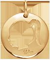 medalion dziewczynka 2 cm pozłacany