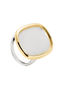 Pierścionek prostokąt zaokrąglony srebro i złoto 14k
