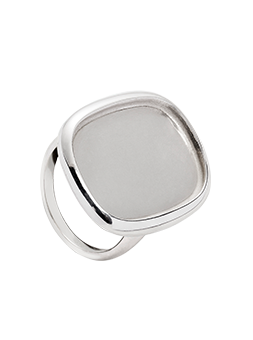 Pierścionek prostokąt zaokrąglony srebrny