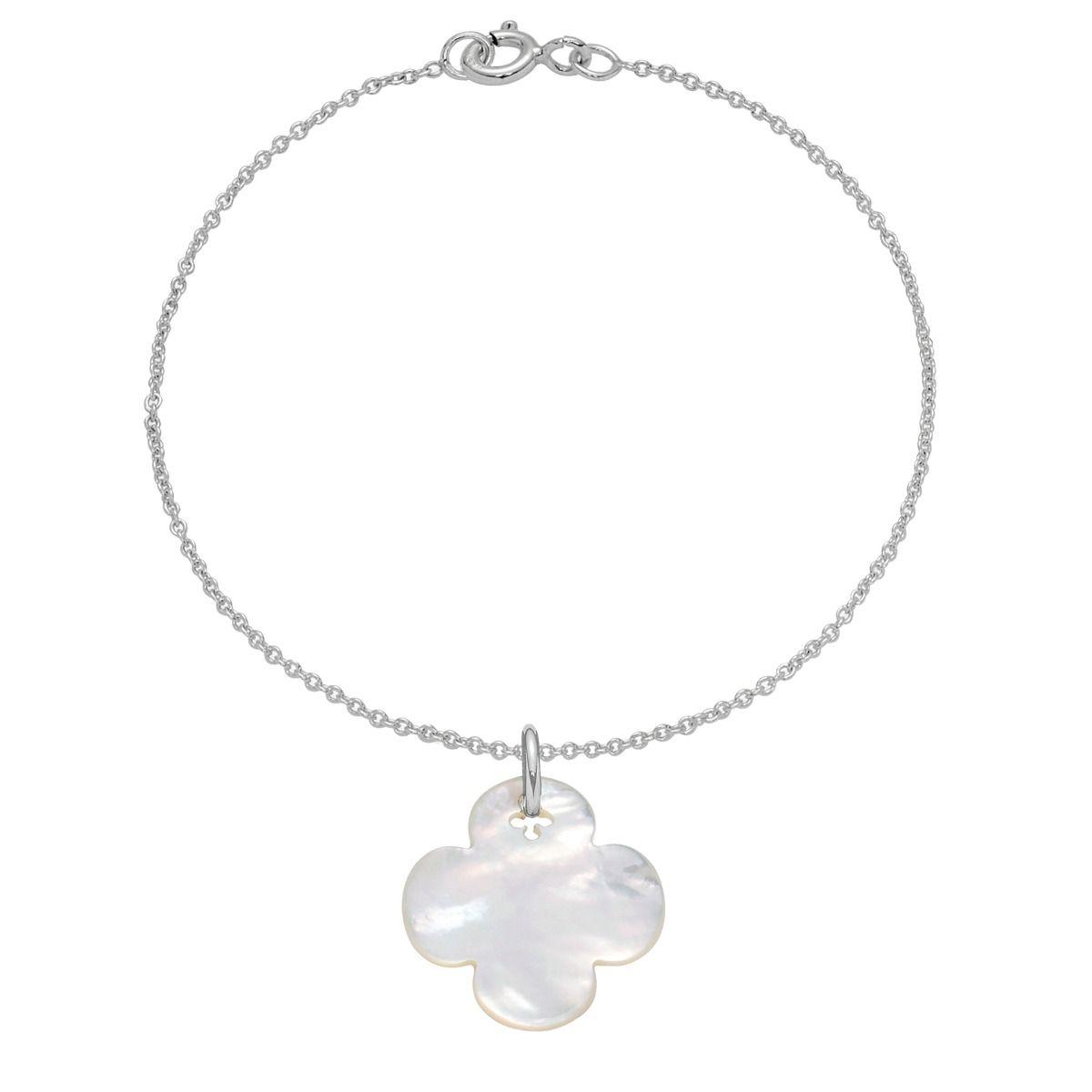 Bransoletka z okrągłą koniczynką z masy perłowej na cienkim klasycznym łańcuszku