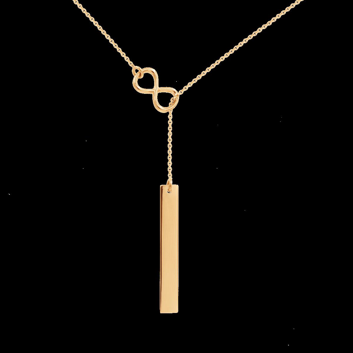 Naszyjnik nieskończoność z blaszką pozłacany 54 cm