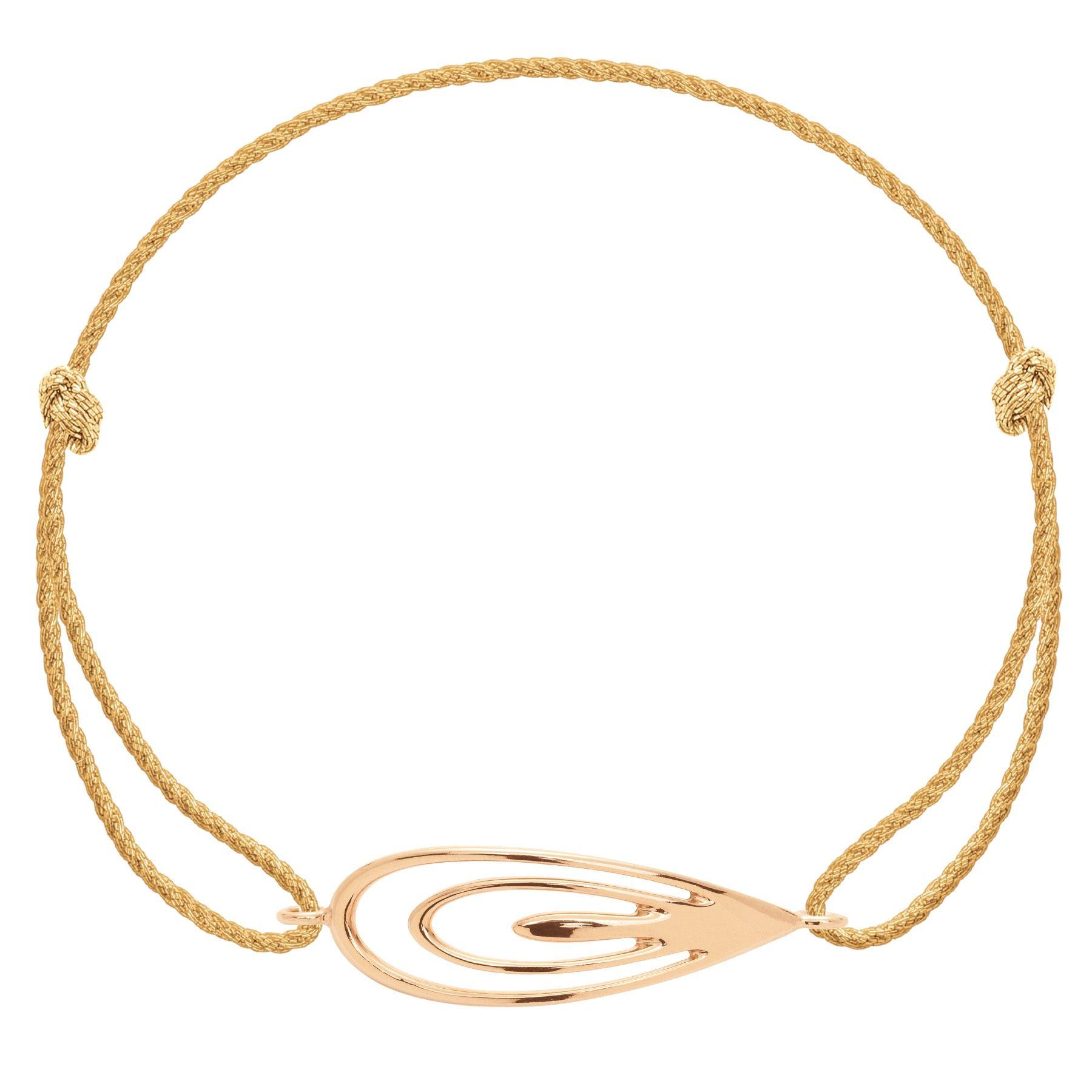 Bransoletka z pozłacanym Pawiem na grubym złotym sznurku premium