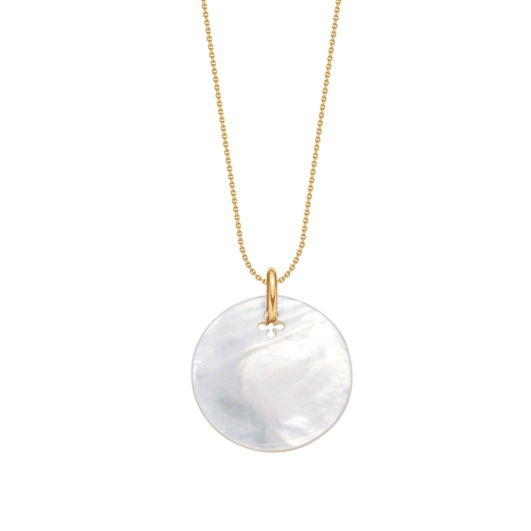 Naszyjnik z medalikiem z masy perłowej na pozłacanym cienkim klasycznym łańcuszku
