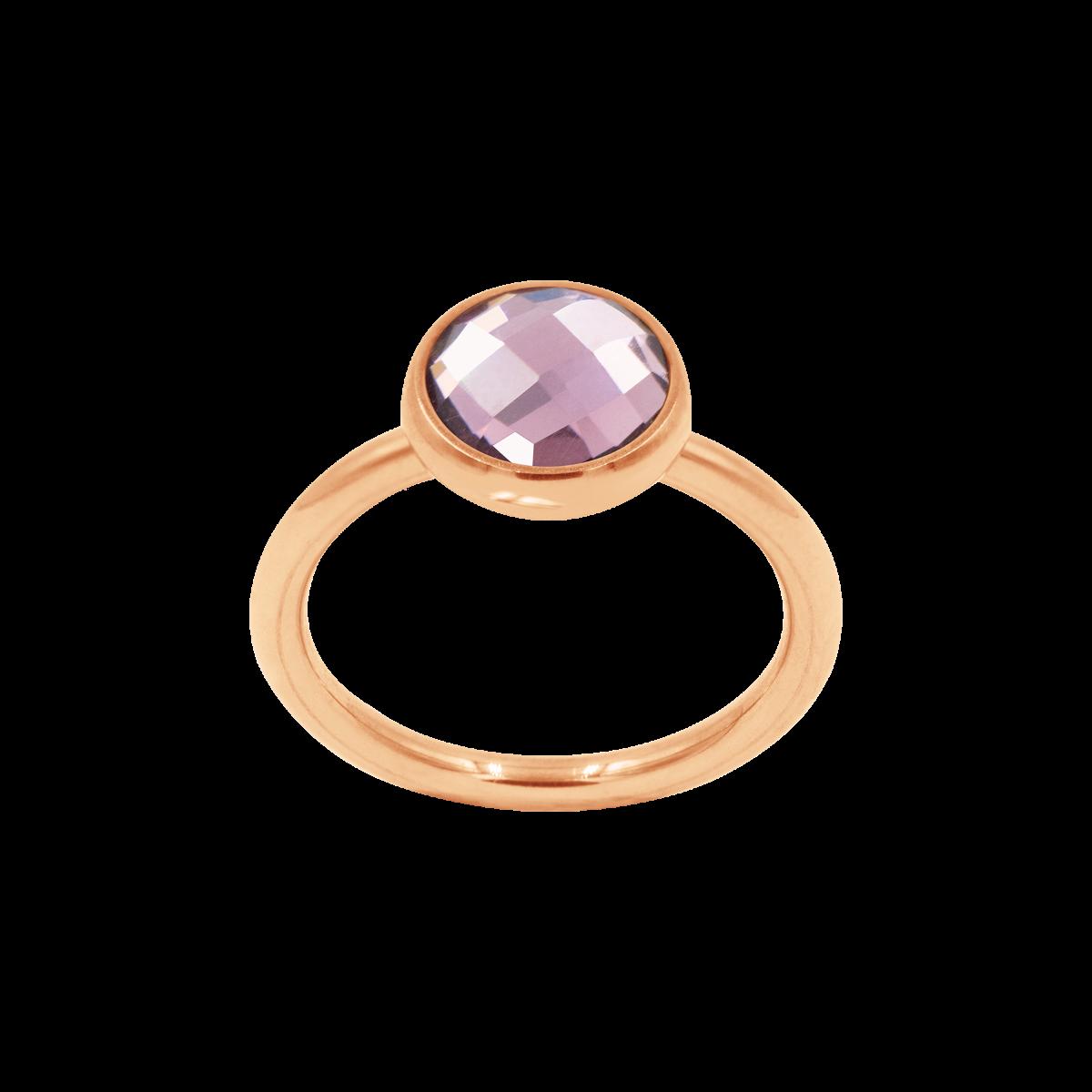 Pierścionek z fioletowym kwarcem różowe pozłocenie