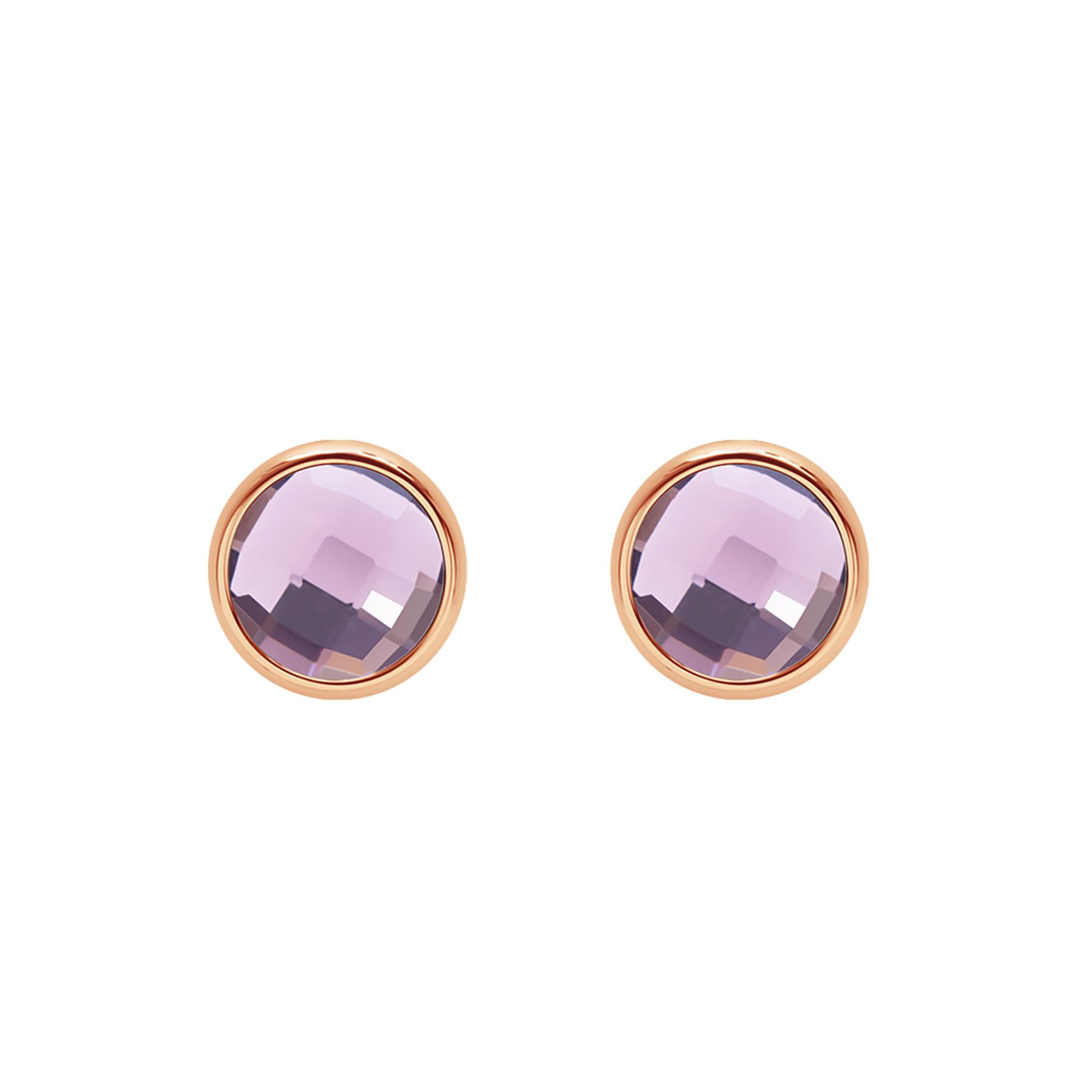 Kolczyki z fioletowym kwarcem różowe pozłocenie