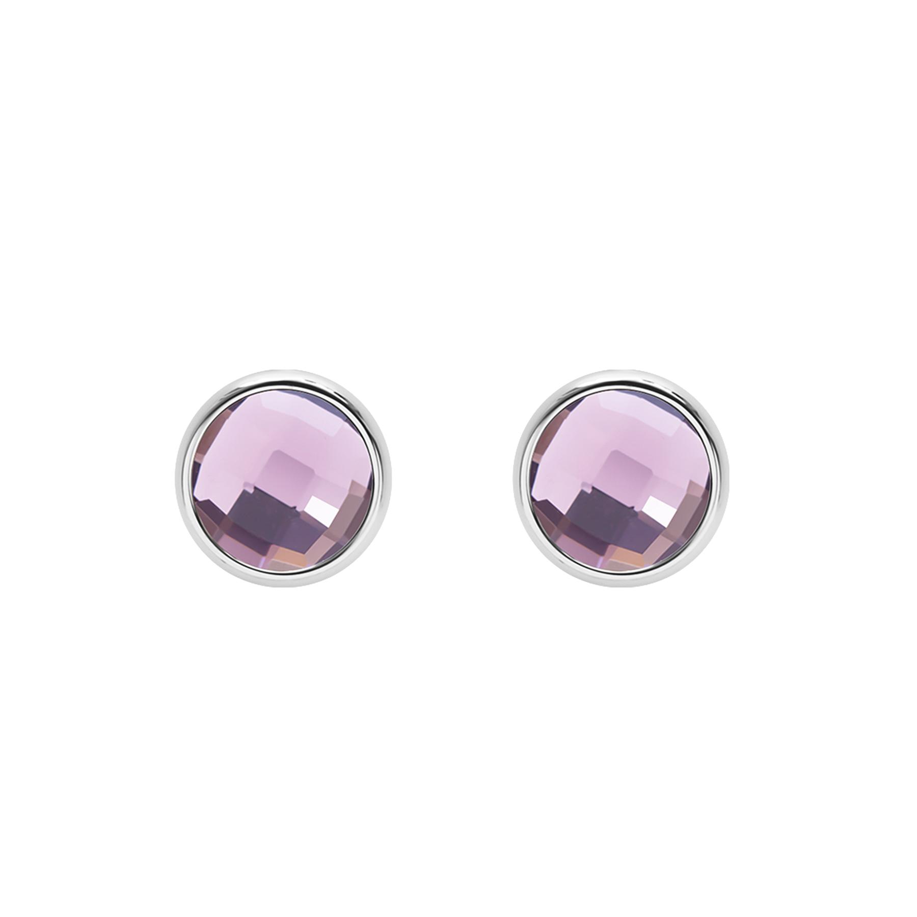 Kolczyki z fioletowym kwarcem posrebrzane