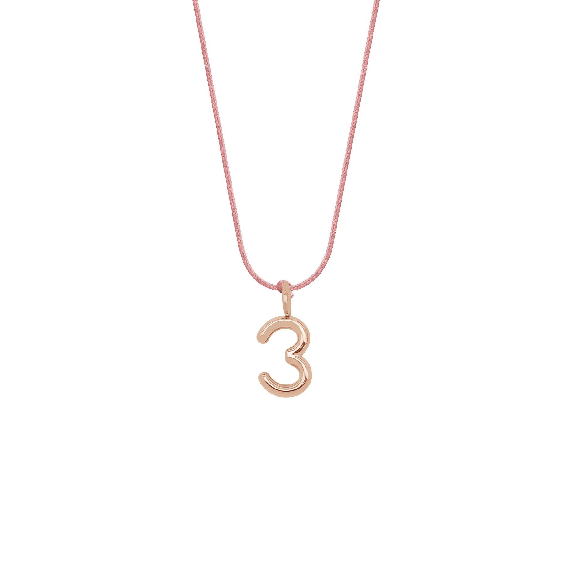 Naszyjnik PRZYJAŹŃ z cyfrą 3, różowe pozłocenie, na cienkim różowym sznurku