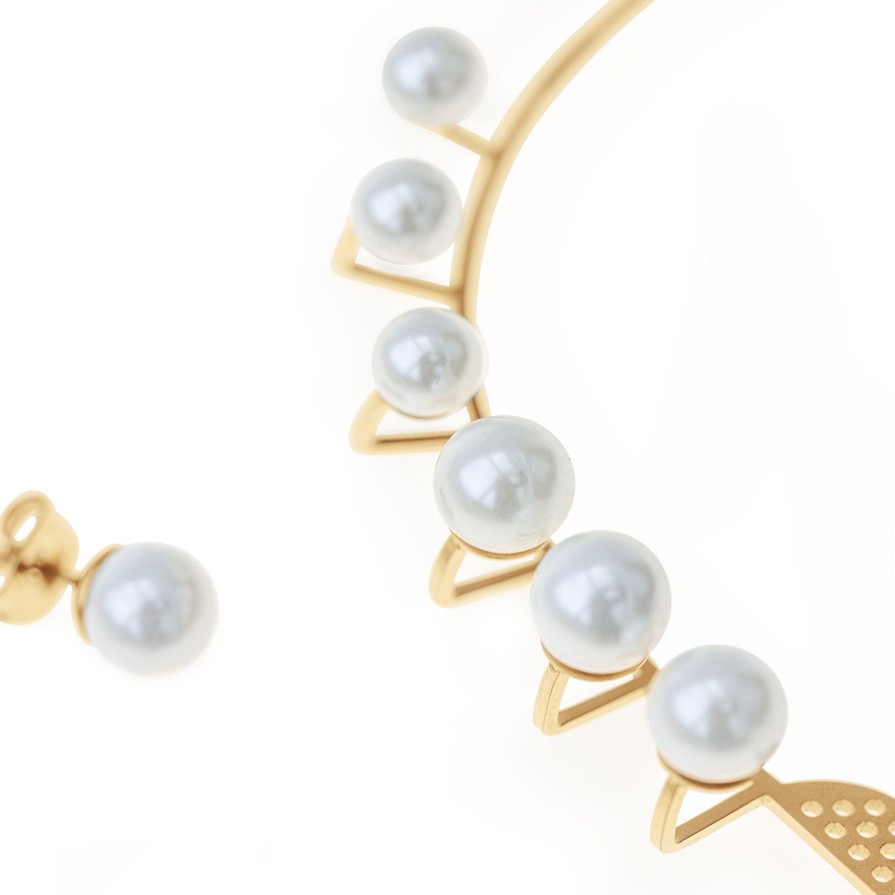 Pearls - nausznica prawa pozłacana