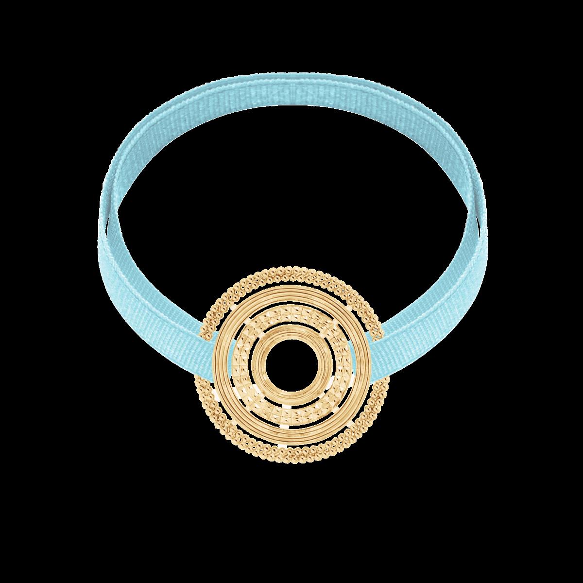 Bransoletka z pozłacanym ETNO na błękitnej wstążce
