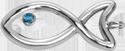Ażurowa rybka posrebrzana z niebieskim topazem 2,5 cm